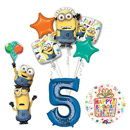 Despicable Me 3 Minions Stackers 5th Birthday Party Supplies and balloon Decorations - Minion Decoration