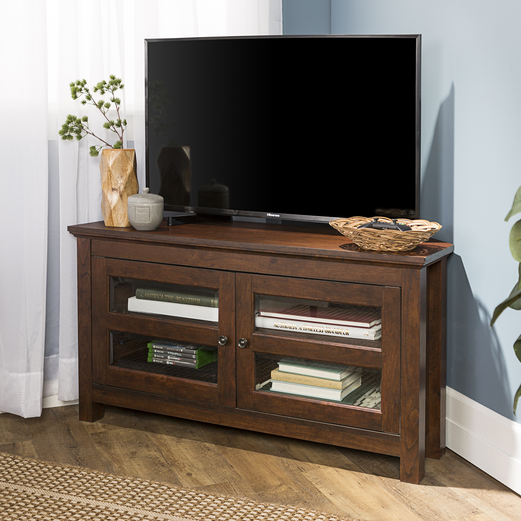 """Walker Edison Wood Corner TV Stand for TV's up to 48"""" - Traditional Brown"""