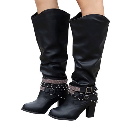 7e297555085 Womens Knee High Mid Block Heels Boots Ladies Winter Wide Leg Casual Shoes  - Walmart.com