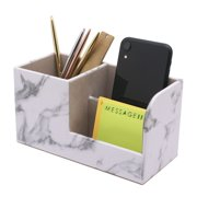 Marble Desk Organizer, Pen Holder for Office Supplies Stationery, Faux Leather