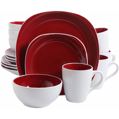 Gibson Home 16-Piece Cadence Square Gray Dinnerware Set