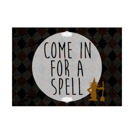 Come In For A Spell Print Witch Broom Broomstick Picture Diamond Design Background Halloween Seasonal Decoration Sign](Halloween Broomstick)