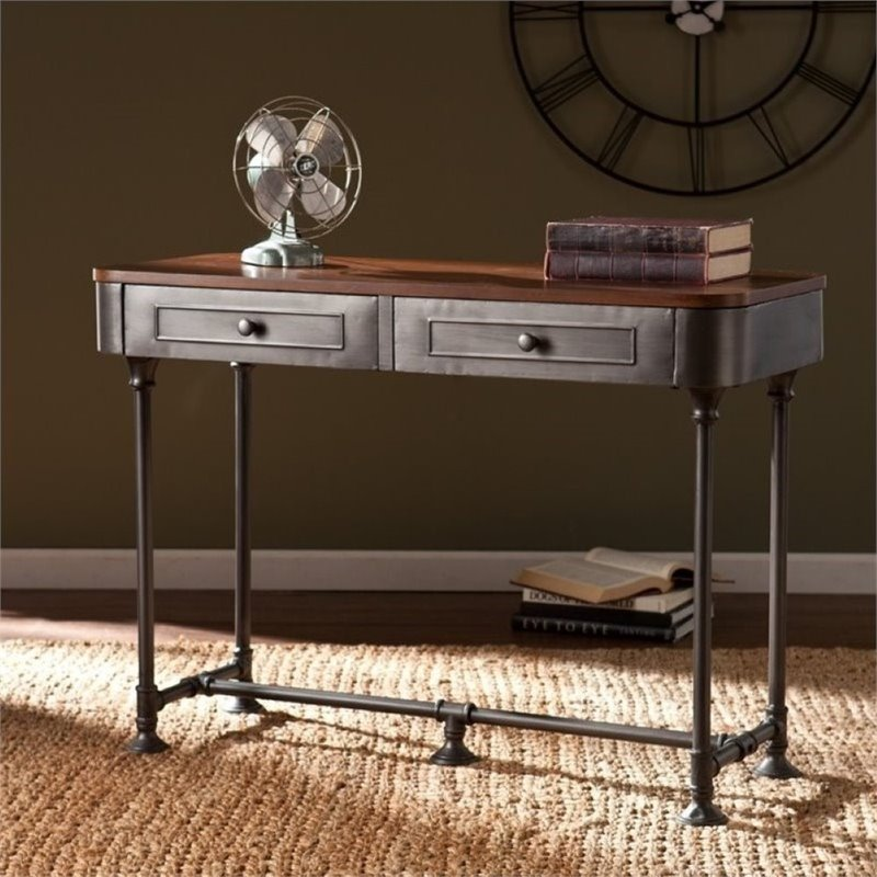 Pemberly Row Console Table in Dark Tobacco and Gray