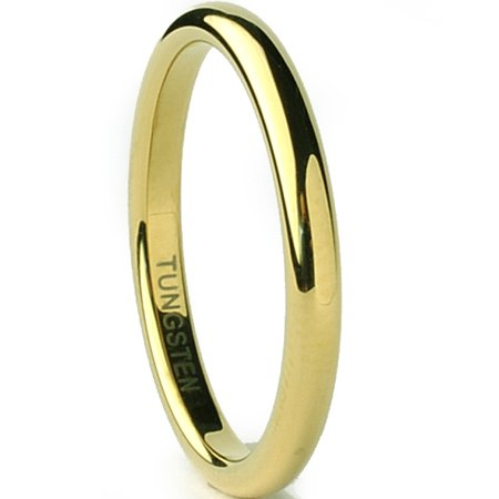 Tungsten Carbide Goldtone Plated Unisex Men's Women's Wedding Band Ring 2MM Sizes 5 to 15