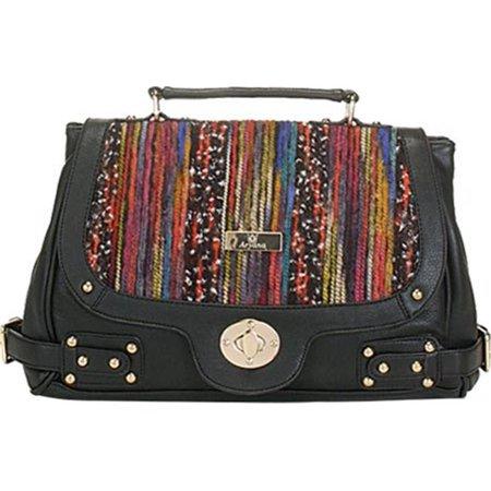 Aryana Adi 14 Bk Black Multi Color Crossbody Strap Hardware Accent Womens Handbag