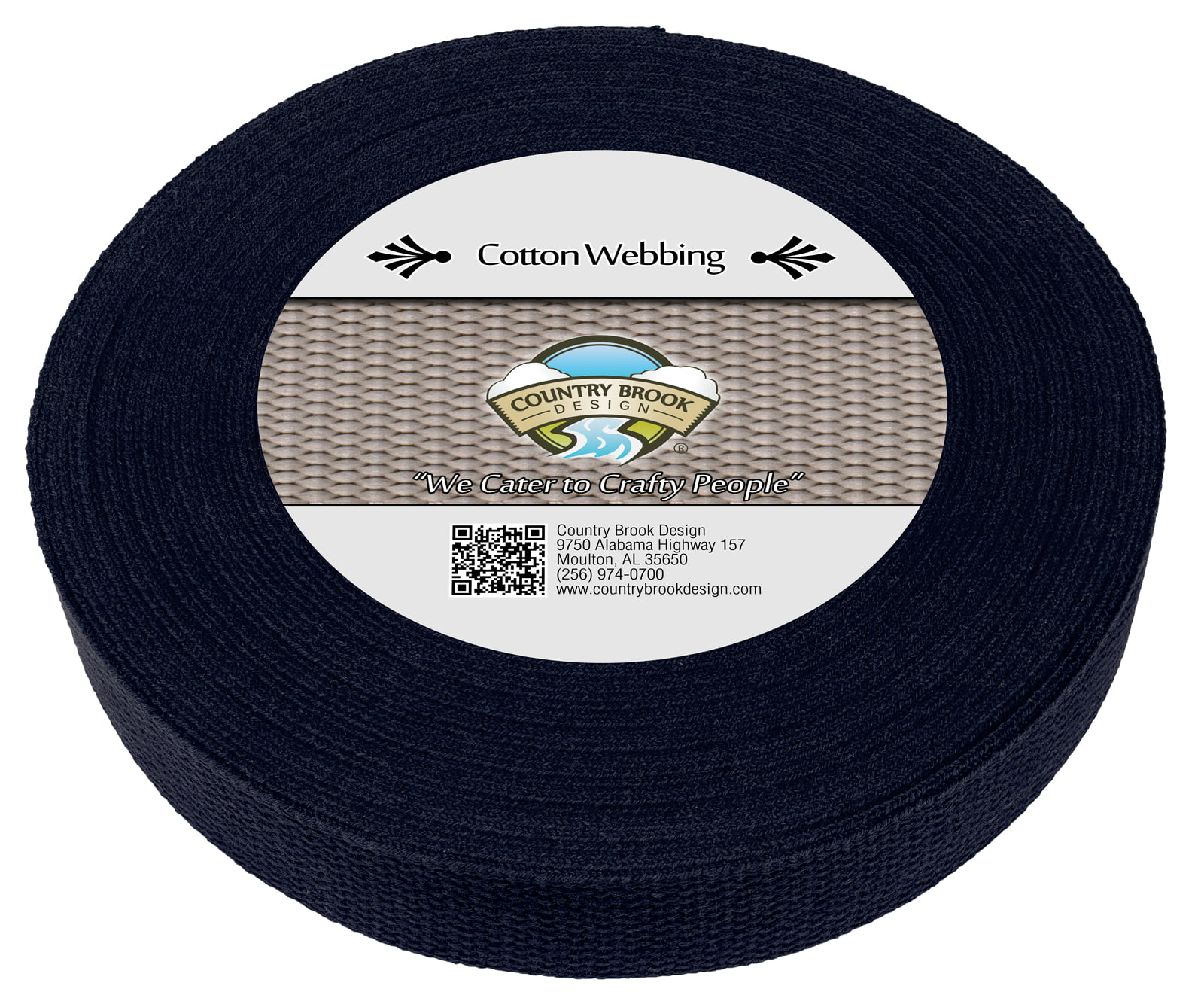 Country Brook Design® 1 Inch Navy Blue Heavy Cotton Webbing 25 Yards