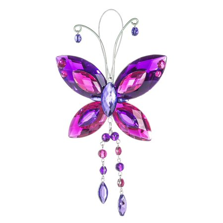 Crystal Butterfly Sun Catcher / Ornament - Purple/hot pink/purple (Sun Catchers Crystals)