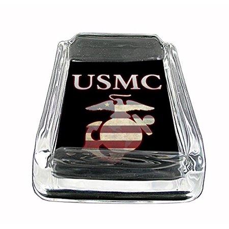 - USMC Marines Glass Square Ashtray