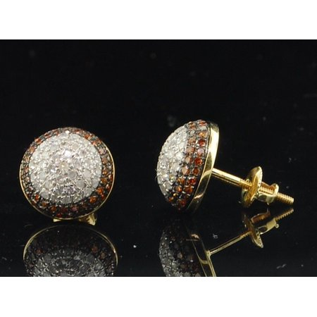 Red Diamond Earrings 10K Yellow Gold Round Pave Domed Circle Studs 0.90 (Diamond Round Circle Earrings)