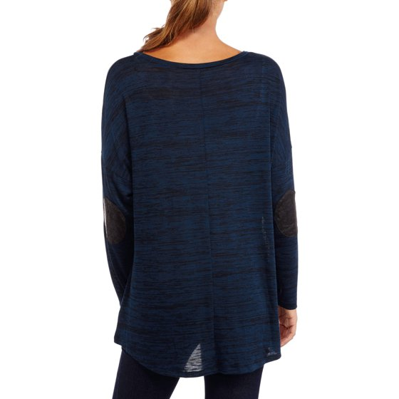 6313fb41d93 Women s Plus-Size Long Sleeve Solid Hi-Lo Tunic with Elbow Patch Detail