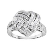 Oneofakindjewelry Sterling Silver 1/2ct TDW Diamond Heart Knot Ring (Siez 7)