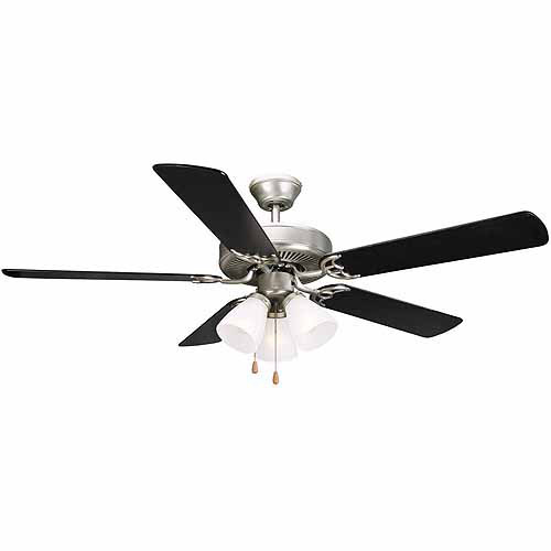 "Design House 153957 Millbridge 52"" 3-Light 5-Blade Ceiling Fan, Black or Light Maple Blades, Satin Nickel Finish"