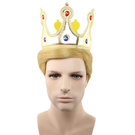 President Trump II Wig w/ Golden Jeweled Crown, Blonde HM-176