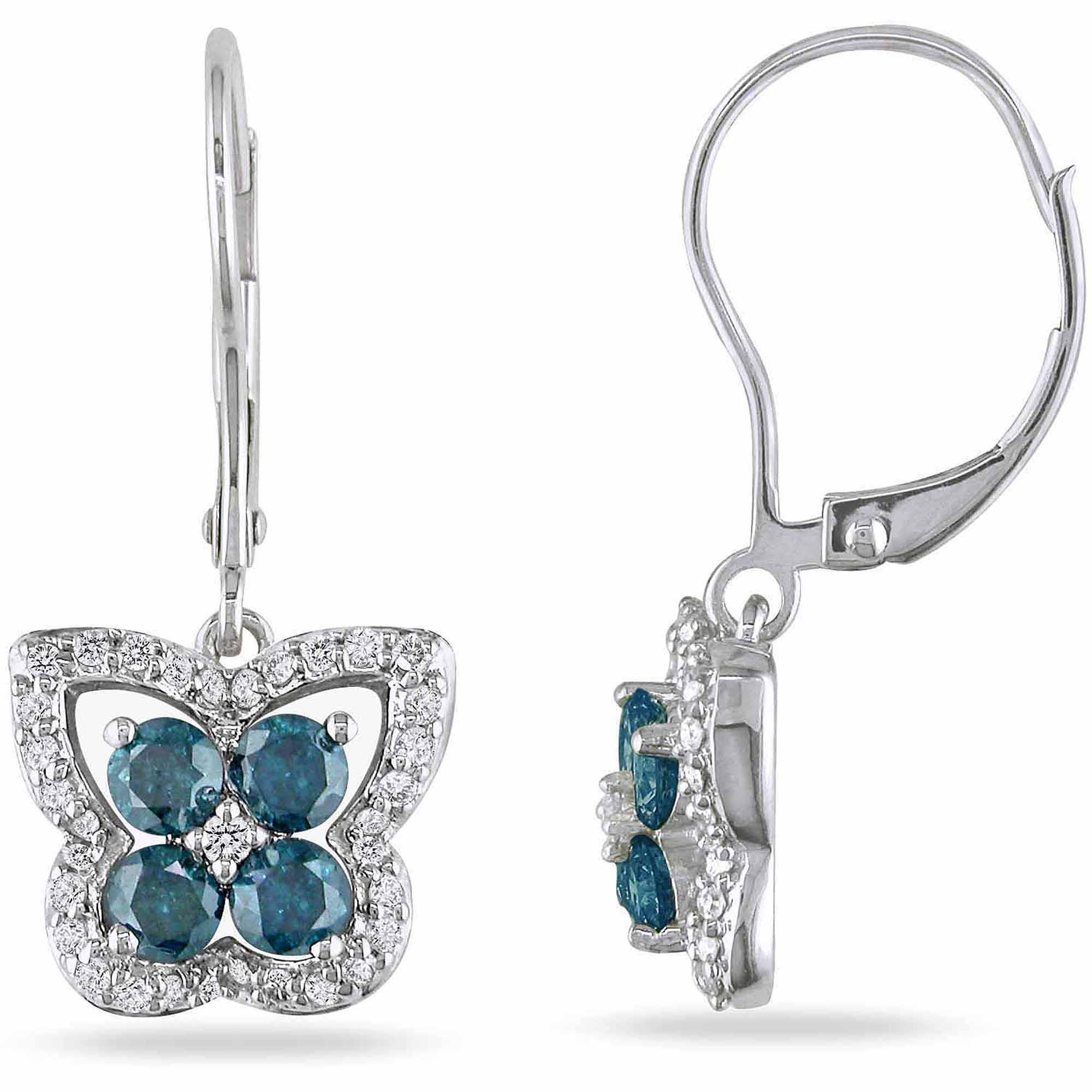 1 Carat T.W. Blue and White Diamond 14kt White Gold Leverback Butterfly Earrings