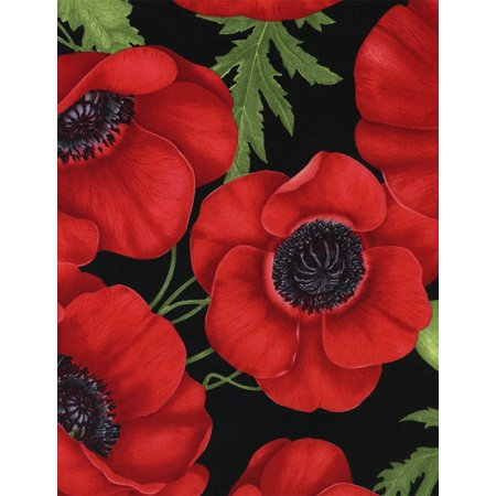 Timeless Treasures Quilting (Poppies Large Poppy Red Fabric By The Yard, Quilting Cotton By Timeless Treasures)
