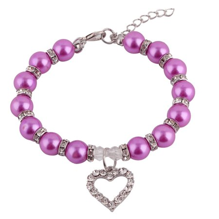 Puppy Plastic Beads Linked Heart Shaped Pendant Decor Collar Necklace - Heart Shaped Necklaces