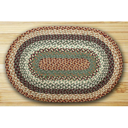 Earth Rugs Oval Braided Buttermilk/Cranberry Area Rug