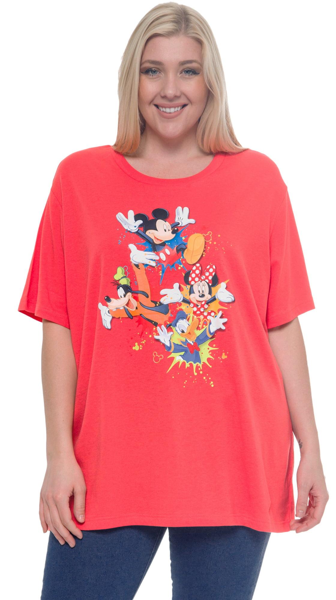 Disney Mickey Minnie Donald Goofy Plus Size T-Shirt Coral