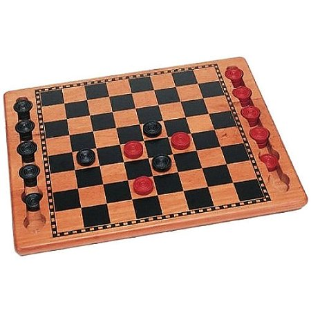Red & Black Wood Checkers Set