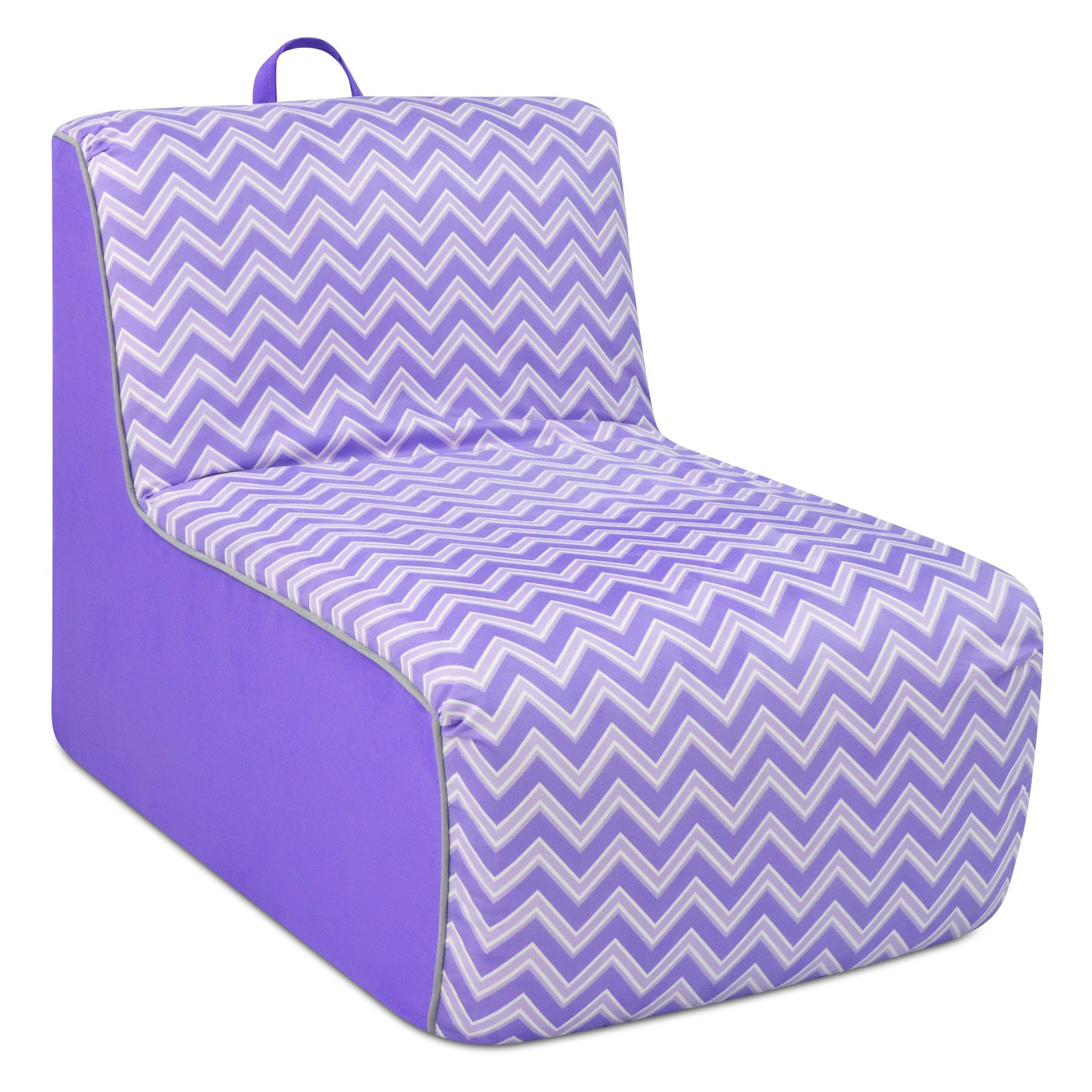 Kangaroo Trading Co. Tween Lounger w/handle - Izzy Plum with Plum and Pebbles welt trim