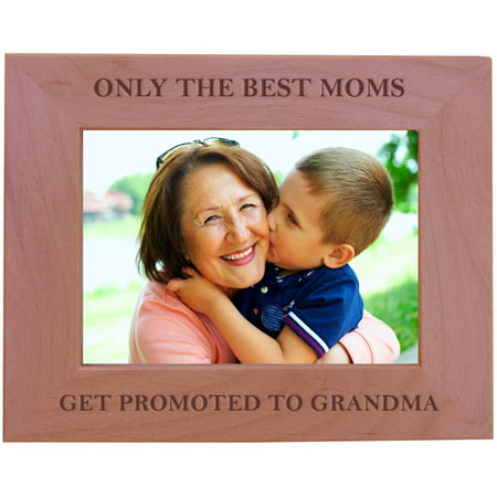 CustomGiftsNow Only The Best Moms Get Promoted To Grandma - Wood Picture Frame - Fits 5x7 Inch Picture