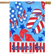 "Summer Fun Patriotic House Flag Flip Flops Nautical  Stars 28"" x 40"""