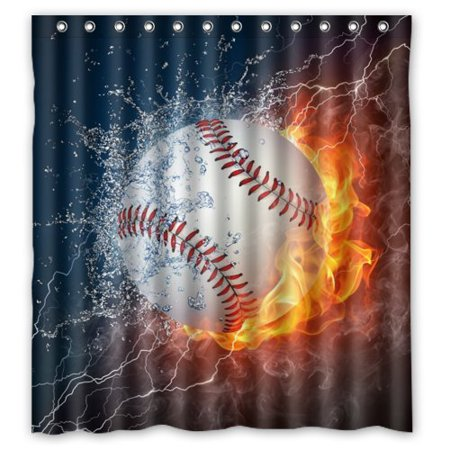 HelloDecor Baseball Shower Curtain Polyester Fabric Bathroom Decorative Size 66x72 Inches