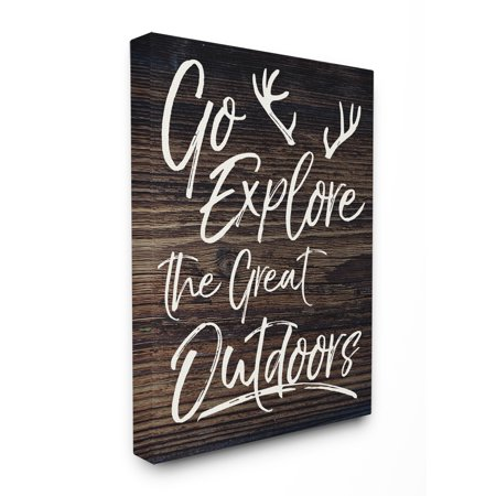 The Stupell Home Decor Collection Go Explore The Great Outdoors Antlers Distressed Wood XXL Stretched Canvas Wall Art, 30 x 1.5 x 40