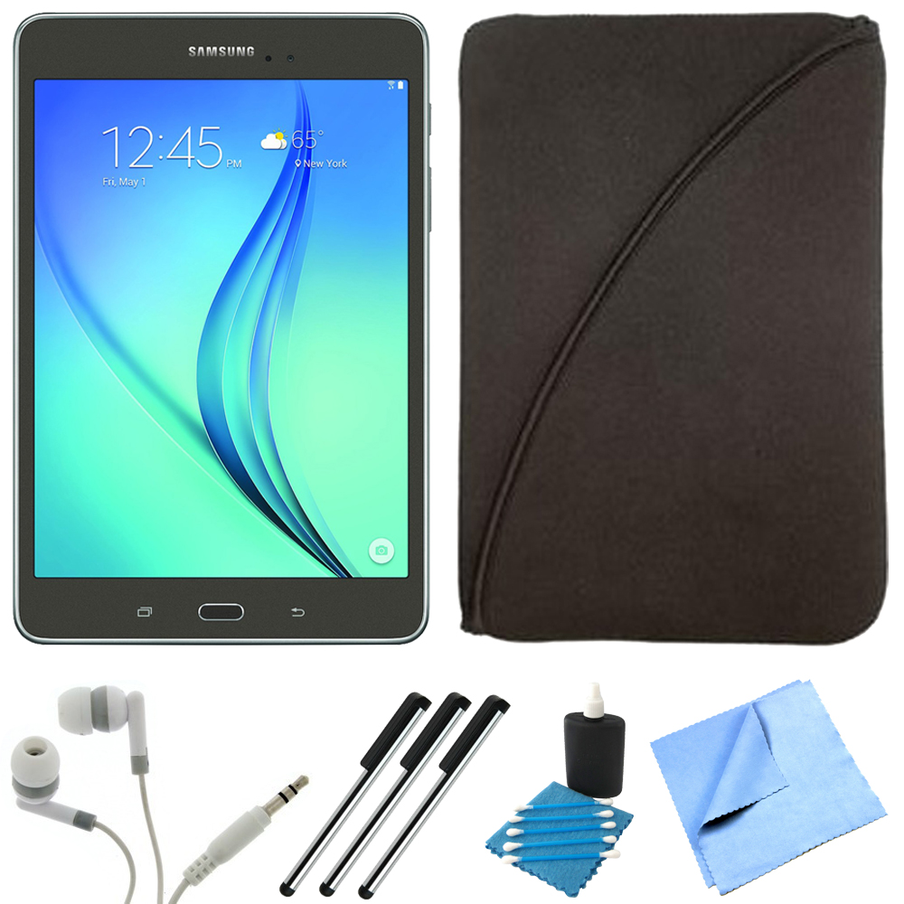 Samsung Galaxy Tab A SM-T350NZAAXAR 8-Inch Tablet (16 GB, Smoky Titanium) Bundle