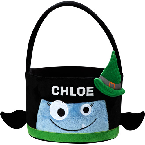 Personalized Goofy Goblin Halloween Treat Bag, Blue Witch