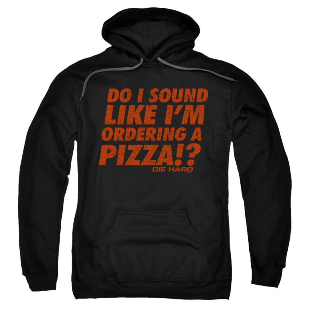 Die Hard Men's  Pizza Hooded Sweatshirt Black