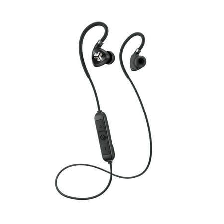 JLab Audio Fit 2.0 Bluetooth Wireless Sport Earbuds - Black - Titanium 10mm Drivers 6 Hour Battery Life Bluetooth 4.1 IP55 Sweat Proof Rating Extra Gel Tips Flexible Memory Wire for $<!---->