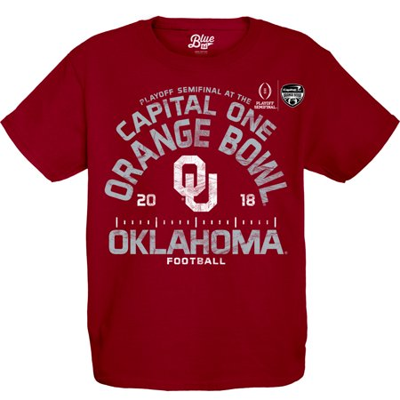 Oklahoma Sooners Blue 84 Youth College Football Playoff 2018 Orange Bowl Bound Hayneedle T-Shirt - Crimson The Oklahoma Sooners have had an incredible season, and it will only get better as they head to the College Football Playoff 2018 Orange Bowl! Your youngster can cheer their team to a victory as they wear this Blue 84 Hayneedle T-Shirt. Crisp graphics will put your kid's Oklahoma Sooners fandom front and center, ensuring they're the #1 fan everywhere they go.