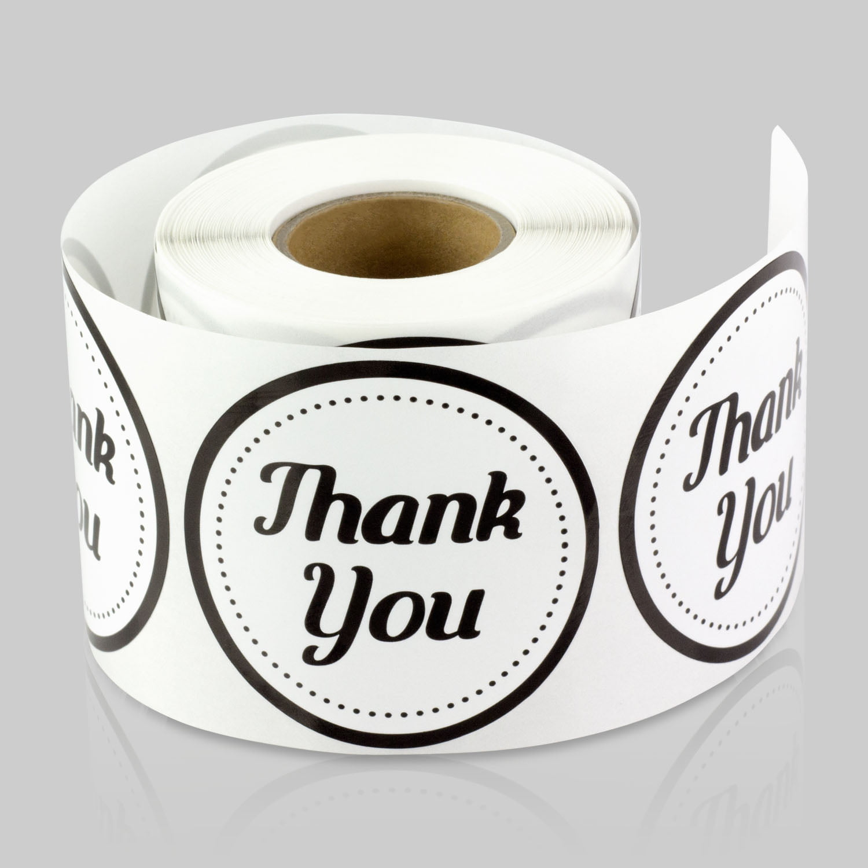 Round Thank You Stickers 2 Inch 300 Labels Per Roll 5 Rolls Black For Wedding Birthday Event Thanks Envelope Gift Box Walmart Com Walmart Com