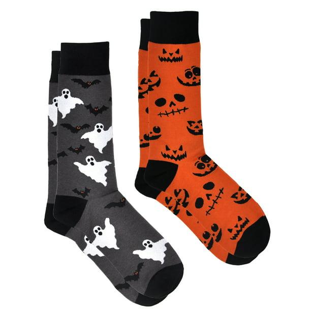 360 Threads Halloween Socks Jack O'Lanterns & Bats Ghosts 2-Pairs (Men's)