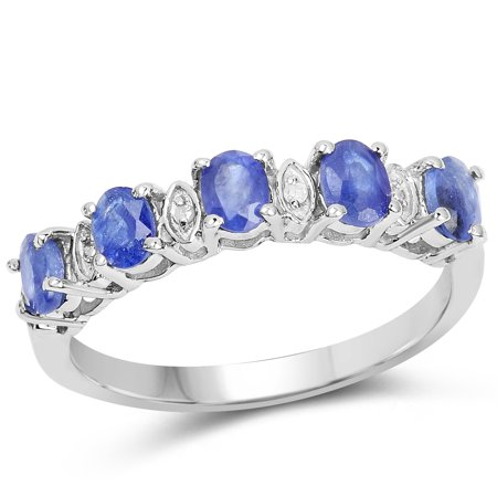925 Sterling Silver Glass Filled Sapphire and White Diamond Ring (1.11 Carat) Multiple Sizes