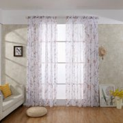 Polyester Bright Flower Pattern Vines Leaves Tulle Door Window Curtains Drape Panel Sheer Scarf Valances Senior