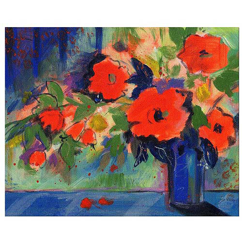 "Trademark Art ""Red Flowers"" Canvas Art by Sheila Golden"