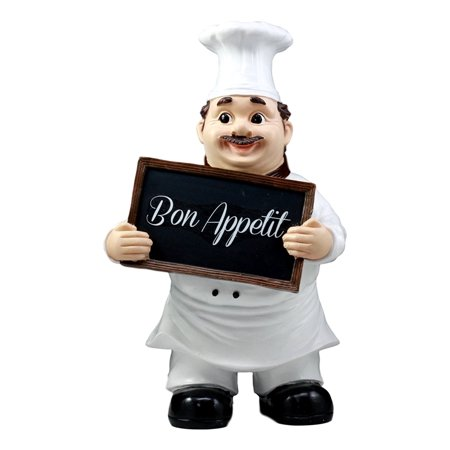 Ebros Bon Appetit French Bistro Chef Pierre Holding Sign Statue Kitchen Welcome Decor Figurine - Bon Appetit Halloween