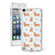 For Apple iPod Touch 5th / 6th Generation Hard Back Case Cover Corgi Hearts Pattern (White)