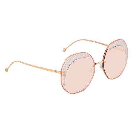 Fendi Glass Pink Geometric Ladies Sunglasses FF0358S01N563 ()