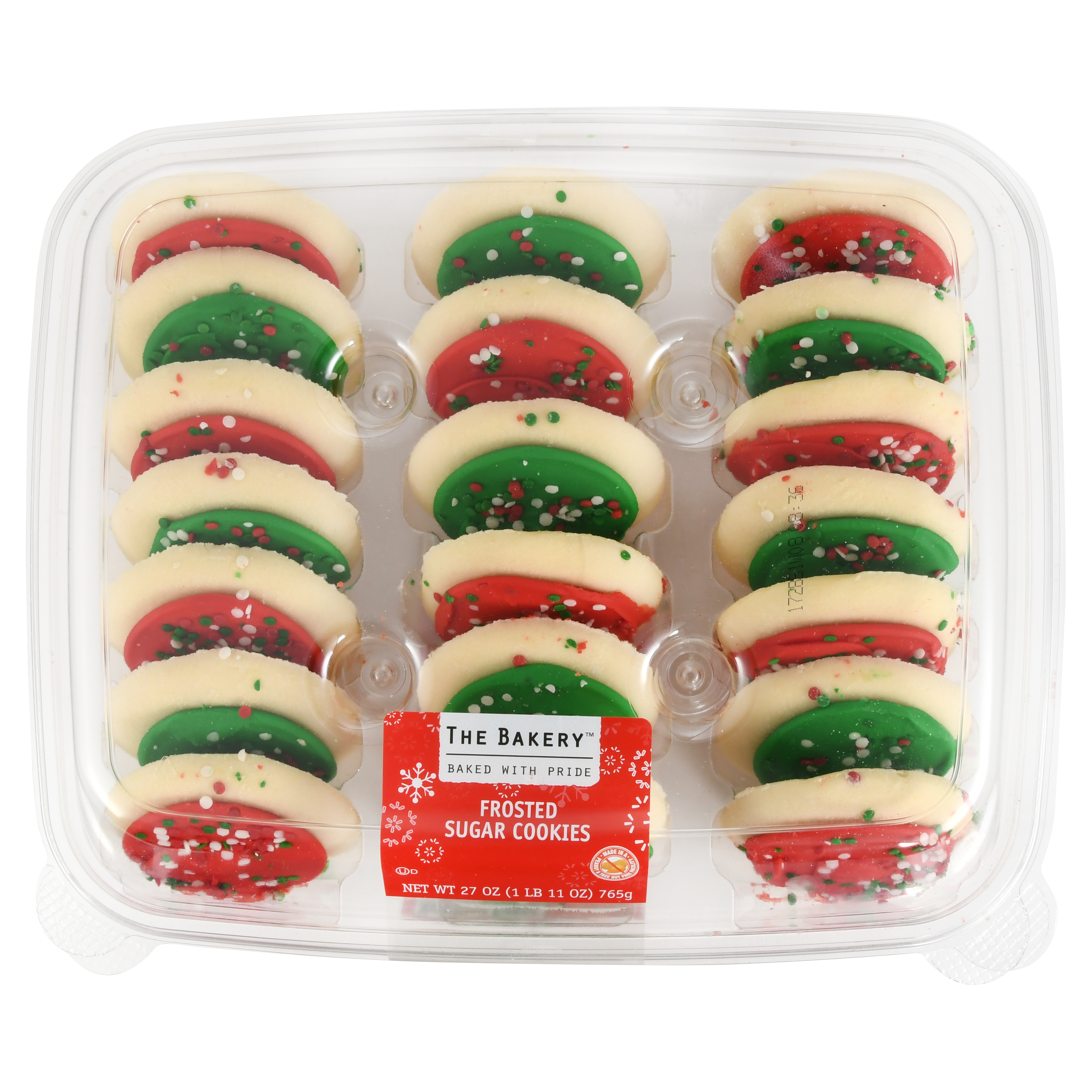 The Bakery Christmas Frosted Sugar Cookie Tray, 20 count, 27 oz ...