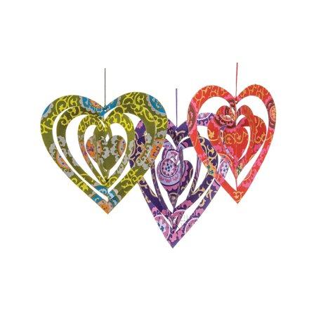 Heart Origami Paper Ornaments (5.75-Inch, Multicolor, Set of 3)