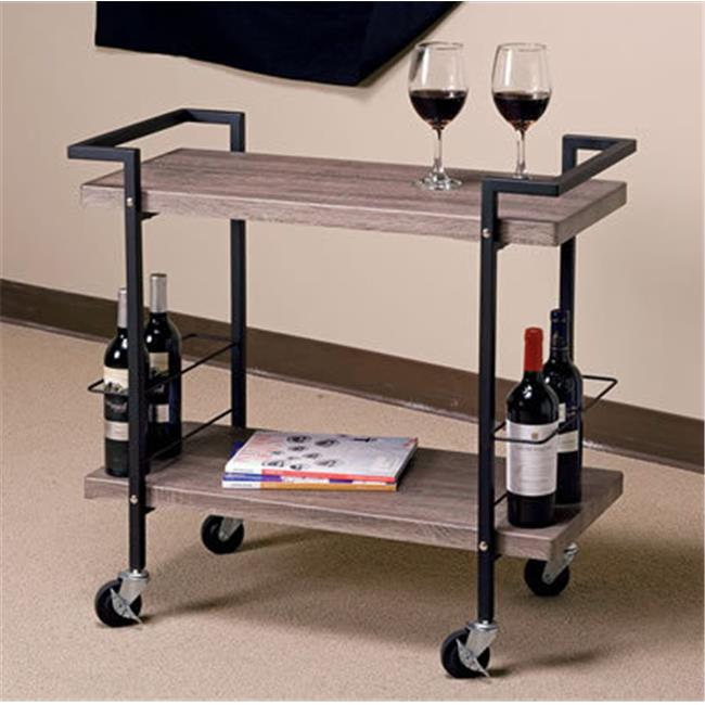 Avenue 6 Office Star MXW3731-AH Maxwell Serving Cart in Ash Veneer Finish, Black Powder Coated Steel Frame by OSP