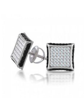 Square CZ Micro Pave Cubic Zirconia Black White Kite Stud For Men For Women Stud Earrings 925 Sterling Silver 9MM