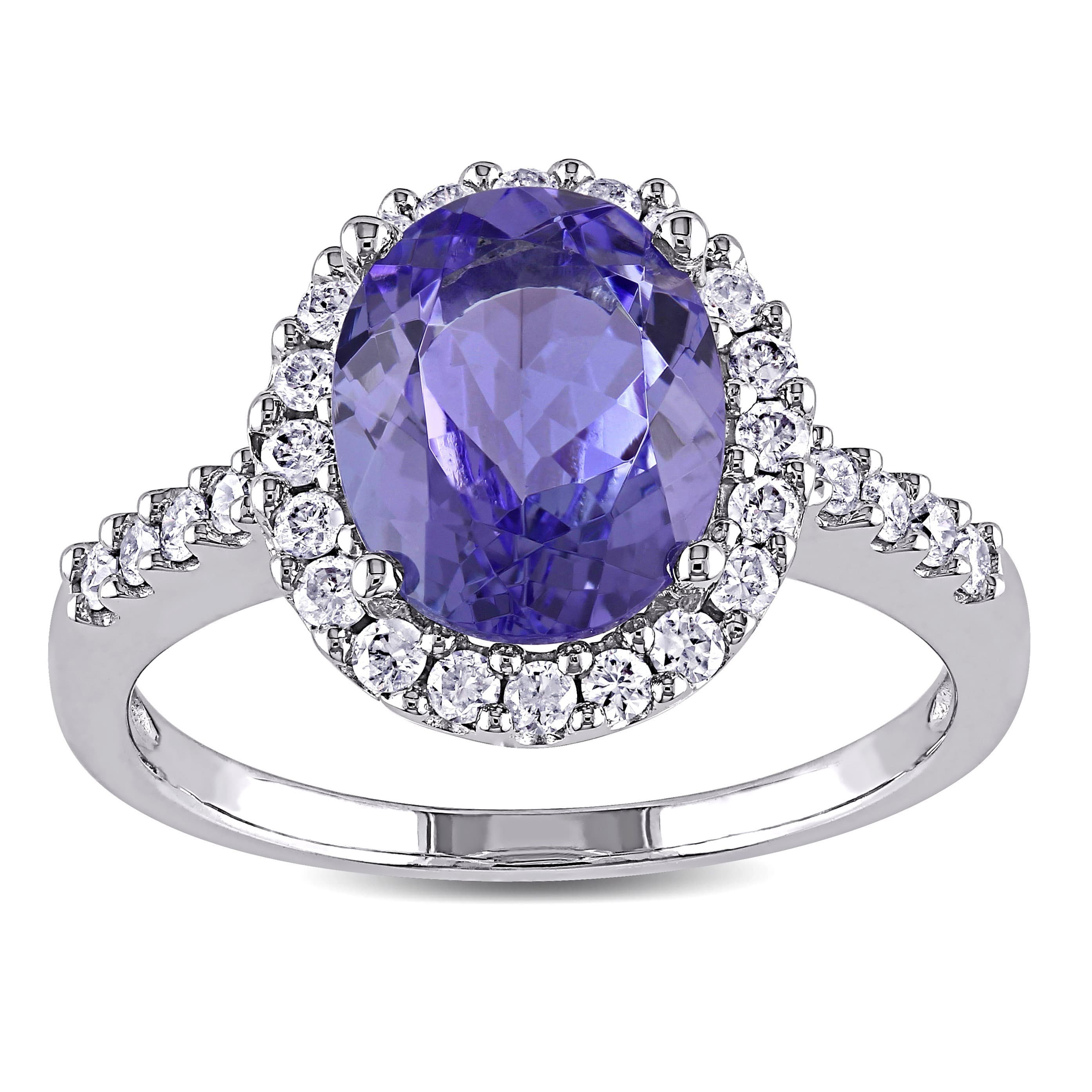 Miadora Signature Collection 14k White Gold Tanzanite and 2 5ct TDW Diamond Halo Ring (G-H, I1-I2) by Overstock