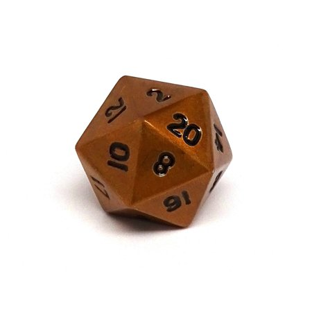 Cursed Copper D20 Dice - Metal Single 20 Sided Dice (22 Sided Dice)