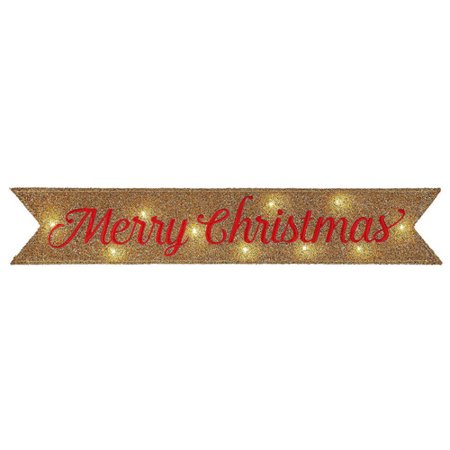 FAST TRACK LIT TINSEL MESSAGE BANNER