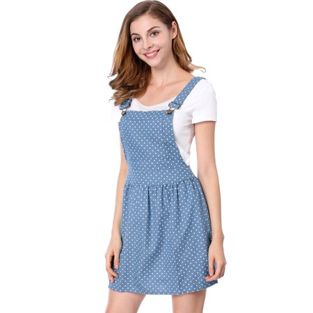 Women's Polka Dots Pattern Suspender Mini Overall Dress Skirt
