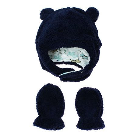 Little Me Baby Boys Fleece Winter Hat with Chin Strap and Mittens Navy Blue  3- 34822402990
